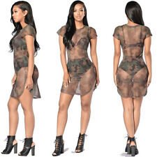 Womens Mesh Short Sleeves Perspective Bodycon Camouflage Print Club Party Dress