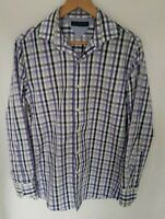 Tommy Hilfiger Mens Long Sleeved Shirt Medium Slim Fit Purple White Plaid