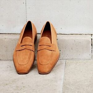 Handmade Mens Shoes, Mens Tan suede Shoes, Men Suede leather moccasins Loafer