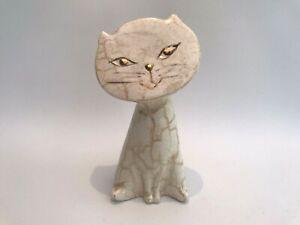 Vintage Handpainted Ceramic Cat - Mid Century Modern 18.5cm