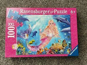 RAVENSBURGER 100 PIECE JIGSAW PUZZLE MERMAID DOLPHINS FISH NO. 136421 GREAT SHAP