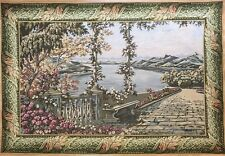 """Vtg Large Victorian Floral Garden with Lake Scene Wall Hanging Tapestry 53""""X 36"""""""
