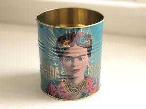 Frida Kahlo Retro Storage Tin Decorative Display Cans Cutlery Stationary Teal