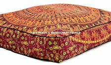 Indian Elephant Mandala Floor Pillow Square Cushion Cover Outdoor Ottoman Pouf