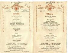 2 Menus Hotel et Brasserie Lutétia 1930. Jolie paire.