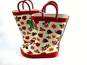 OAKI Kids Waterproof Rubber Rain Boots with Easy-On Handles US Toddler's Size 8