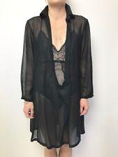 ALISTAIR TRUNG sheer black tunic top / dress sz 1 long sleeve