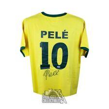 Pele Autographed Brazil Soccer Jersey - PSA/DNA COA (B)
