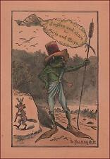 PALMER COX Title Page, FROG with Title Banner hand colored engraving c. 1890