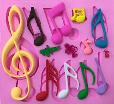 Musical Notes 13 Cavity Silicone Mold for Fondant, Gum Paste, Chocolate, Crafts