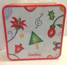"""NEIMAN MARCUS DEPT 56 TIN CONTAINER CHRISTMAS SQUARE 7-3/8""""  X 2-1/2"""" TALL"""