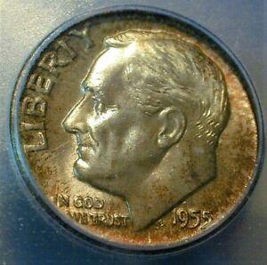 1955-D USA Silver Dime ICG MS67, Toned - Grey Sheet bid = $80.00 (192)