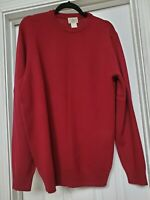 NWT LL BEAN Mens 100% Lambs Wool Sweater Medium Tall Burgundy pullover crew neck