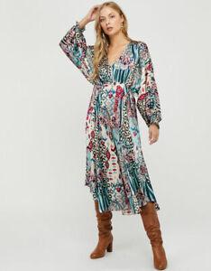 Monsoon Blue Mercy Abstract Midi Dress Size Large 16 18 20 BNWT
