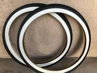 Pair of Black White Wall 26 x 2.125 Beach Cruiser Bike Bicycle Tires Diamond 26""
