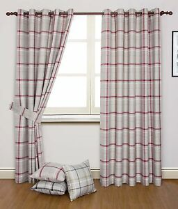 HUDSON WOVEN CHECK STRIPES RINGTOP CURTAINS - lounge / conservatory-cheap price!
