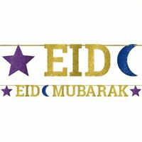 EID Mubarak Ramadan Kareem Party Glitter Gold Banner Stars Decoration Events