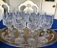 "11 Vintage Crystal-Wine Glasses/Goblet Stemware 7"" Tall Beveled 8oz Drinks"