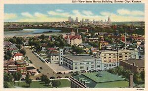 Kansas City, KS, View from Huron Building, 1941 Linen Vintage Postcard a3778