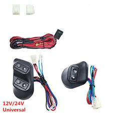 1 Set 12/24V 2-Door Car Vehicle Buttons Power Window Switches & Wire Harness Kit