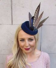 Bleu Marine Marron Faisan Feather Pilulier Chapeau Cheveux Fascinator races clip vintage 4016