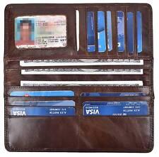 Men's Vintage Genuine Leather Brown Long Wallets Bifold Card Holder Wallet