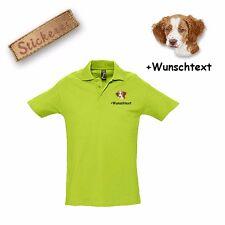 Camiseta Polo Algodón Bordado Spaniel Británico + Texto personalizado