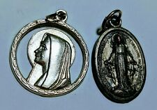 """Mary Cut Out + Miraculous Mary Madonna Medal Silver Plate Pendant Medal 1"""" Italy"""