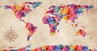 "World Map Modern Grunge Watercolor Abstract Art CANVAS PRINT 24""X16"" #3"