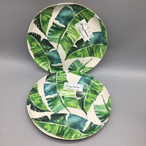 "x2 Tommy Bahama Green Banana Leaf MELAMINE Dinner Plates Set Tropical 11"" NEW"