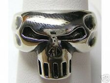 LOOK The underworld Gothic punisher skull jewelry ring Genuine Sterling silver .