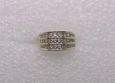 10K YELLOW AND WHITE GOLD VINTAGE WIDE DIAMOND BAND - SIZE 6.25  -  LB0813