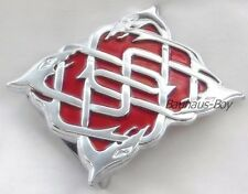KILT BELT BUCKLE CELTIC HIGHLAND SERPENT DESIGN CHROME AND RED ENAMELLED KILTS
