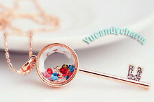 Made in Korea 18K Rose Gold Love Key Locket necklace Floating memory crystals