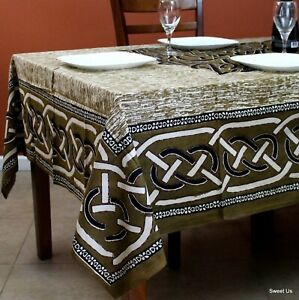 Celtic Wall Tapestry Tablecloth Rectangle Bohemian Cotton Queen Bed sheets Green