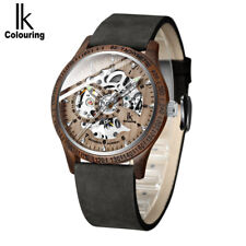 IK Colouring Fashion Wooden Automatic Skeleton Leather Band Men's Wood Watch
