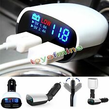 2Port Dual USB Car Charger LED Display For Samsung Galaxy S6 Note 5 4 iPhone HTC