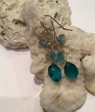 14k solid yellow gold Apatite, Topaz, And Paraiba an briolette earrings