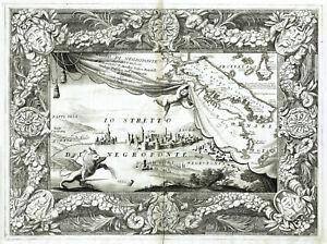 STUPENDA GRECIA EUBEA 1690 CORONELLI CALCIDE Rara Mappa Vedeuta Originale Antica