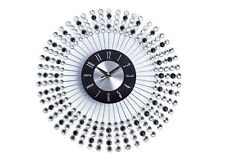 Stylish 43cm Black Diamante Beaded Jeweled Round Sunburst Metal Wall Clock
