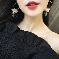 Acrylic Flower Dangle Earrings Water Drop Crystal Tassel Drop Earrings Women