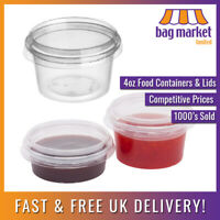 50 x 4oz Clear Round Plastic Containers & Lids | Food/Cups/Pot/Tub/Deli/Takeaway
