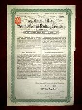 The State of Bahia Western Raiway Co bond certificate  1915   Brazil