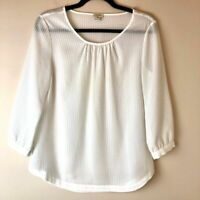 J.Crew | Women's White Textured Gingham 3/4 Sleeve Polyester Blouse Size XS