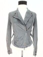 AX Armani Exchange Moto Biker Jacket Gray/Silver Faux Leather Zip Womens XS $160
