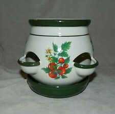 Vtg. Ceramic ? Strawberry Design Pot Garden Planter Herb Seeds Gardener Tomatoes