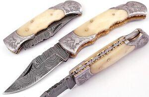 Hand made Damascus steel Folding/Pocket Hunting knife , Razor Sharp DB-7080-B