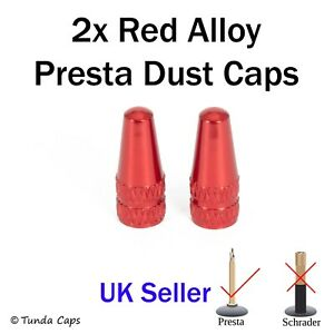 2x Red Presta Alloy Valve Stem Dust Caps Racing Bicycle cycle Cover Kids Bike