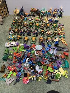 Old TMNT Teenage Mutant Ninja Turtles Vintage 44 Figure Lot w/ 100's Accessories