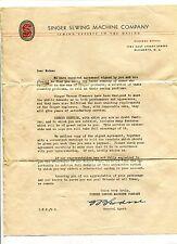 Vintage Letterhead SINGER SEWING MACHINE Elizabeth NJ 1930s